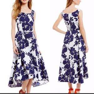Katherine Kelly Jane blue floral hi low midi Dress